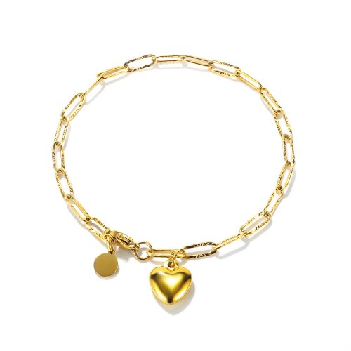Ornament Ins Special-Interest Design Girl Heart Cold Style Peach Heart round Pendant Stainless Steel Bracelet for Girlfriend