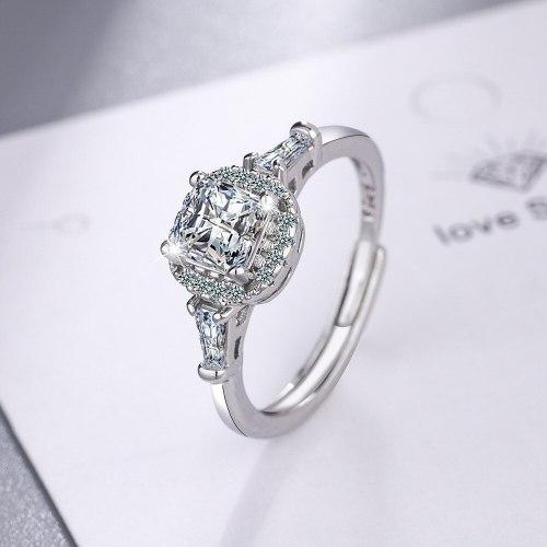 Korean Style Fashion Wedding Ring Women's round Zirconium Diamond Wide Face Ring Bracelet Xzjz409