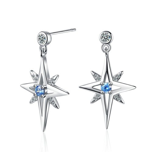 Star Stud Earrings Women's Korean-Style Fresh Diamond-Inlaid Light Six-Pointed Star Earrings Elegant Jewelry Xzed925
