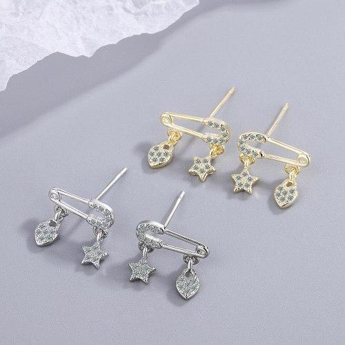 Fresh Cute Pin Stud Earrings Women's Korean-Style Elegant Diamond-Embedded Lovely Earrings Xzed929