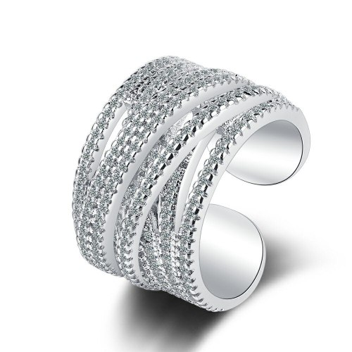INS Simple Wide Face Zirconium Diamond Curve Wave Ring Ring Fashion Joint Ring Tail Ring Xzjz396