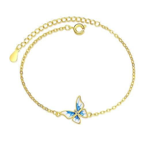 Fresh Blue Butterfly Bracelet Elegant Gold Plated Simple Rhinestone Women's Bracelet