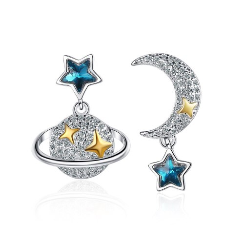 Mori Style Universe Star Temperament Star Moon Stud Earrings Female Sweet Star Small Earrings Xzed926