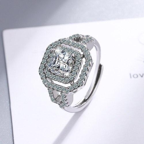 Korean Sparking Zirconium Diamond Ring Open Mouth Design Fashionable Temperament Wedding Ring Women's Ring Bracelet Xzjz406