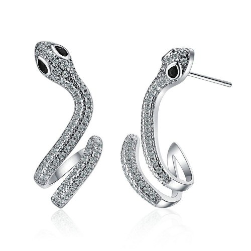 Zirconium Stud Earrings Female European and American Style Fashion Snake Stud Earrings Personality Wave Jewelry Xzed923