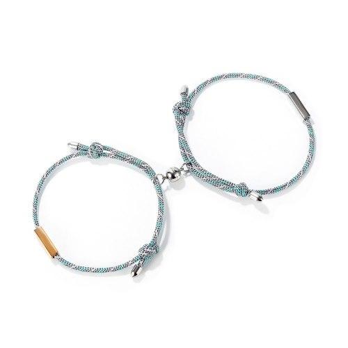 Ornament Japanese and Korean Niche Design Magnet Bracelet Heart-to-Heart Suction Woven Couple Bracelets Bracelet Valentine's Day