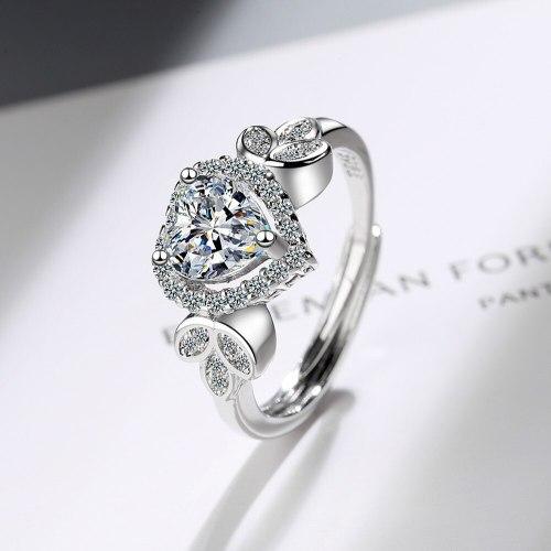 Flash Zirconium Diamond Ring Open Mouth Heart-Shaped Design Fashionable Temperament Ring Women's Ring Bracelet Xzjz391