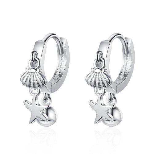 Japanese Style Simple Stud Earrings Girl Starfish Shell Sweet Short Ear Clip Female Temperament Earrings Xzeh640