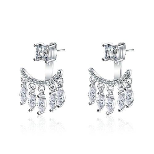 Back-Mounted Earrings Women's Korean-Style Fresh Diamond-Embedded Five Petal Flower Tassel Earrings Flower Jewelry Xzed924