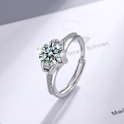 Flash Zirconium Diamond Ring Open Mouth Special-Interest Design Fashion Cross-Border Ring Women's Ring Live Broadcast