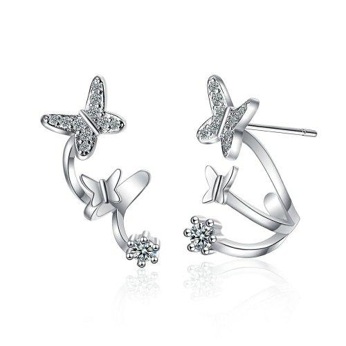 Asymmetric Small Butterfly Stud Earrings Diamond Ear Row Ear Clip Female Korean Style Elegant Earrings Xzed922