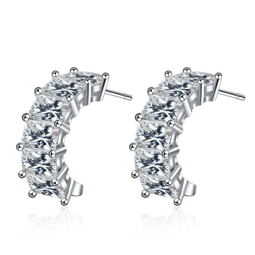 Women's Simple European Square Diamond Stud Earrings Sweet Temperament Zirconium Diamond Personalized Earrings Xzed919