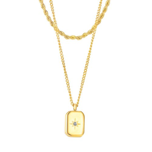 Japanese and Korean New Fashion Trendy Double-Layer Necklace Simple All-Match Square Necklace Female Gb1954