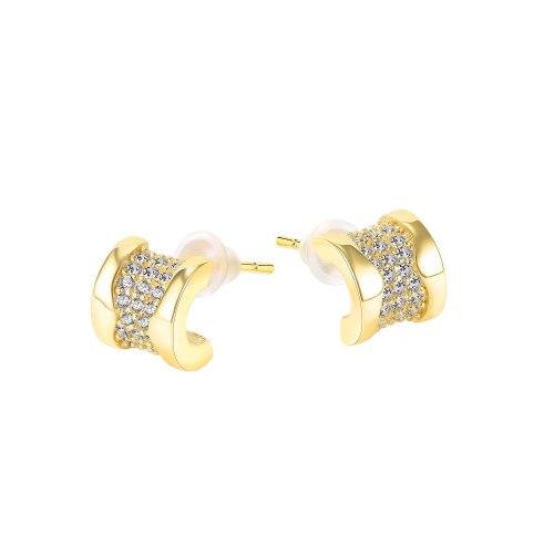 Korean Mori Style Simple Stud Earrings French Diamond C- Shaped Geometric Earrings Elegant Stud Earrings Gb749