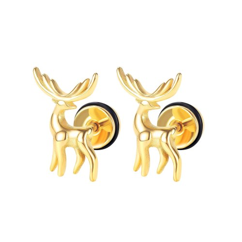 Korean Style Fashionable Simple All-Match Little Deer Stud Earrings Men's and Women's New Stainless Steel Earrings Gb683