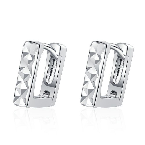 Women's Japanese and Korean-Style Simple Square Ear Clip Personalized Carven Design Short Earrings Jewelry Xzeh622