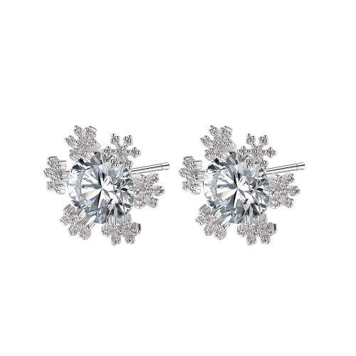 INS Korean Style Niche Temperament Stud Earrings All-Match Snowflake Inlaid Zircon Copper Stud Earrings Gb026