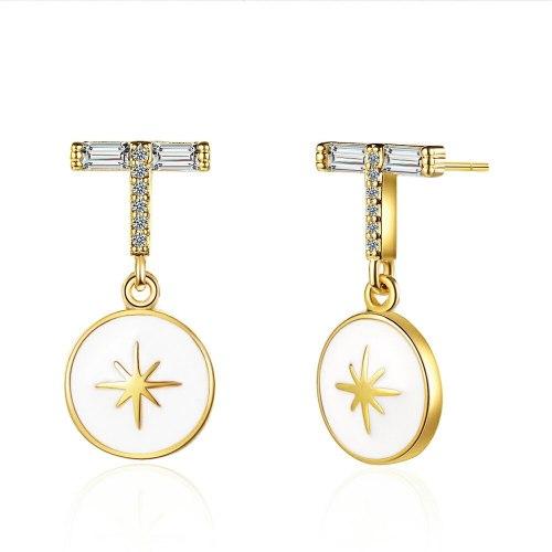 Light Luxury Zirconium Diamond Stud Earrings Fresh Fashion Geometric Rice Epoxy Ear Studs Simple Earrings Xzed920