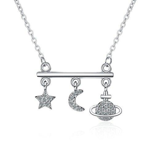 Planet Chain Set Female Mori Style Diamond Star Moon Necklace Simple Fashion Personality Short Clavicle Chain Female XZDZ543