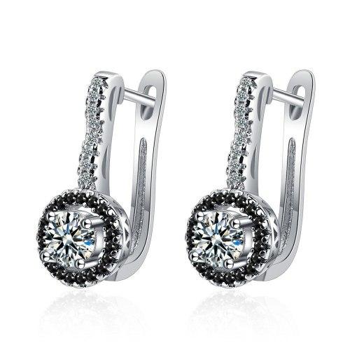 Ear Clip Women's Fashion Hollow-out Zirconium Diamond Rectangular earrings Temperament Personality Geometric Earrings Xzeh620