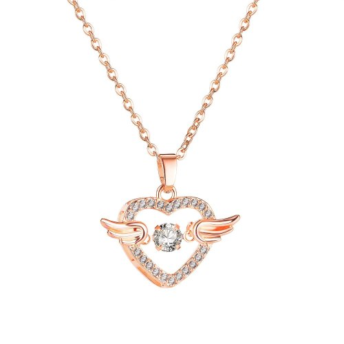 Korean Mori Style Heart-Shaped Angel Wing Zircon Pendant Rose Gold Plated Clavicle Chain Necklace Gb031