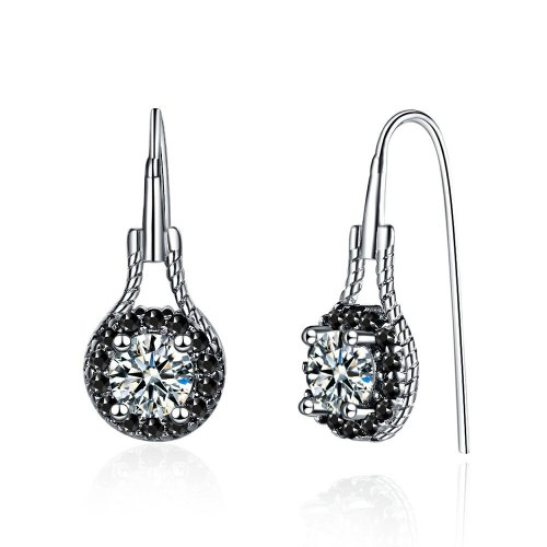 Simple Geometric round Hollow Earrings Female Temperament Creative Short Inlaid Black Zirconium Diamond Ear Hook Xzeh630