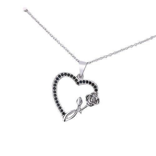 Necklace Women's Black and White Full Diamond Heart-Shaped Pendant Diamond-Embedded Heart-Shaped Chain Short Chain XZDZ548