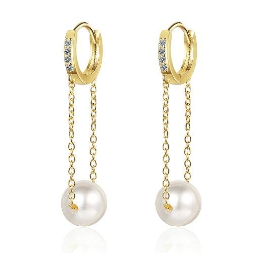 Long Diamond Ear Clip Women's Korean-Style Fresh Sweet Pearl Personalized Chain  Stud Earrings Jewelry Xzeh628