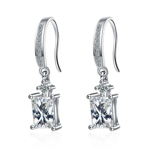 Ear Clip Women's Japanese and Korean Style Simple Single Row Diamond Ear Clip Personality Square Diamond Short Earrings Xzeh627