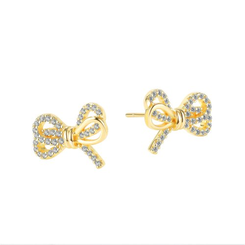 Japanese and Korean Simple Small Fashion Copper Stud Earrings Jewelry Ins Elegant Bow Earrings Gb750