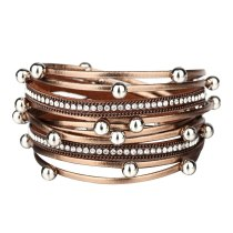 Cross-Border Hot Multi-Layer Pearl Leather Bracelet with Diamond Magnetic Snap Leather Bracelet
