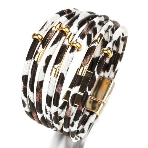 Weave Vintage Leopard Leather Bracelet Women's Fashion European and American Style Ornament Hot-Selling Alloy Bracelet