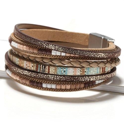 Hot-Selling Product Bohemian Bracelet Handmade Woven Leather String Bracelet Alloy Magnetic Snap Women's Fashion Bracelet