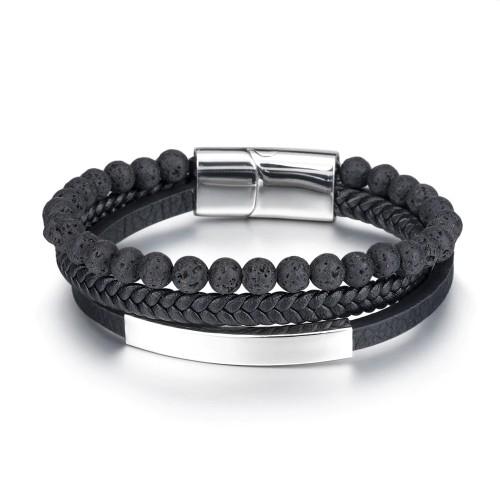 Volcanic Natural Stone Beaded Stainless Steel Bracelet Men 'S Weaving Cow Leather Ornament Titanium Steel Bracelet 365415
