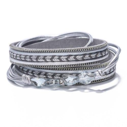 New Handmade Woven Crystal Pendant Bracelet Multi-Layer Magnetic Buckle Bracelet Christmas Gift
