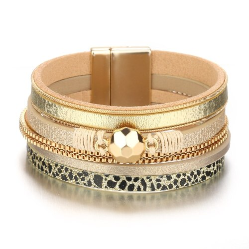 Hot Selling Leopard Woven Leather Bracelet Women's Accessories Simple European and American Style Bracelet Ornament Export 548