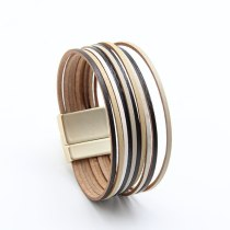 New 2mm Leather Rope Mixed Color All-Match Women's Leather Bracelet Magnetic Snap Jewelry