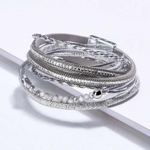 Hot Sale Multi-Layer Long Square Diamond Multi-Layer Beaded Bracelet Jewelry Magnetic Snap Hand-Woven Women's Bracelet 2313