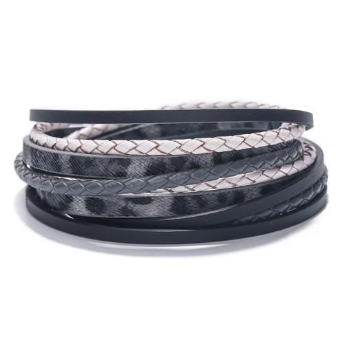 Hot New Bohemian Multi-Layer Woven Bracelet Leopard Magnetic Buckle Bracelet in Stock Wholesale