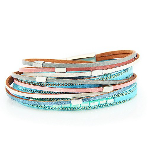 Bracelets Women 'S Beaded Alloy Handmade Ornament Magnetic Buckle Girlfriends Bracelet Multi-Layer Winding Creative Bracelet 4455646