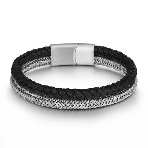 New Steel Wire Double Woven Stainless Steel Bracelet Leather Bracelet Men's Titanium Alloy Bracelet