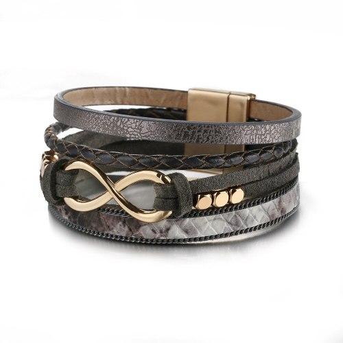 Popular Export Woven Leather 8-Word Bracelet Women's European and American Alloy Bracelet Original Jewelry Jewelry