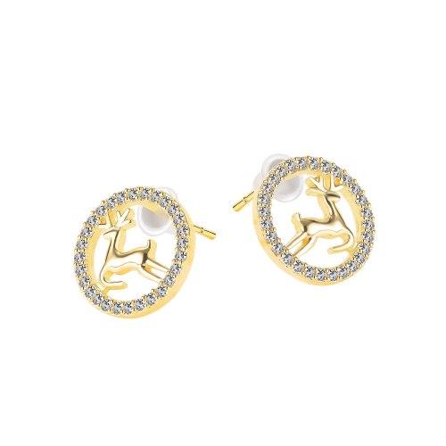 Japan and South Korea Chanel-Style Mori Style Elk Stud Earrings Simple Small Fashion Copper Earrings Gb751