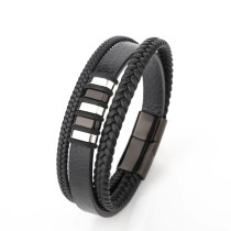 Multi-Layer Hand-Woven Cow Leather Stainless Steel Men's Bracelet European and American Vintage Jewelry Titanium Steel Bracelet