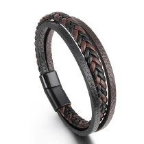 New Retro Cattle Leather Bracelet Multi-Layer Alloy Woven Leather Bracelet Men's Bracelet Wholesale