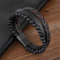 Natural Frosted Beads Stainless Steel Leather Bracelet Titanium Steel Ornament Beaded Bracelet European and American Accessories