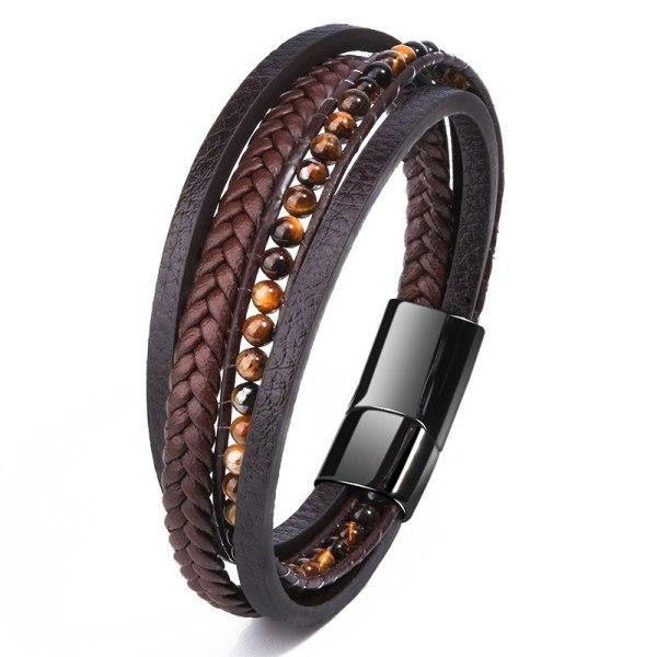 Cross-Border Sold Jewelry Hand-Woven Tiger Eye Natural Stone Stainless Steel Bracelet Leather Beaded Titanium Steel Bracelet 4556