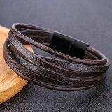 New European and American Leather Bracelet Alloy Woven Men's Bracelet Wholesale 4513