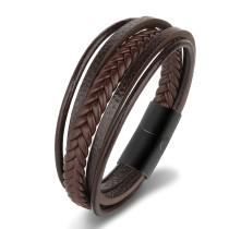 Vintage Cowhide String Bracelet Hand-Woven Leather Stainless Steel Bracelet Genuine Leather Titanium Steel Men's Bracelet