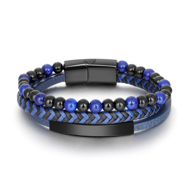 Cross-Border Leather Rope Natural Stone Volcanic Rock Stainless Steel Men 'S Bracelet Bracelet Titanium Ornament Bracelet